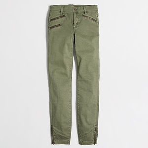 J Crew Sateen Pants w/ Zipper Detail